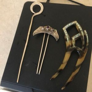 Silver hair accessories and faux tortoiseshell
